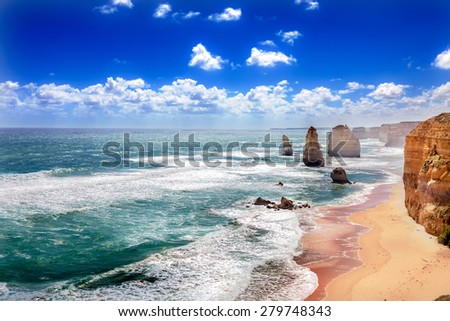 Twelve Apostles and orange cliffs along the Great Ocean Road in Australia #279748343