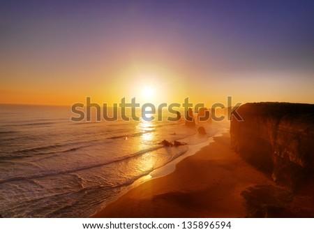 Twelve Apostles at sunset. Great Ocean Road,
