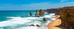 Twelve Apostles Marine National Park, Victoria, Australia. Copy space for text
