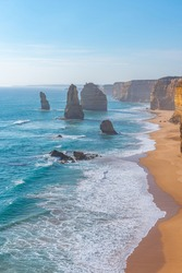Twelve apostles rock pillars at Port Campbell national park viewed during sunset, Australia