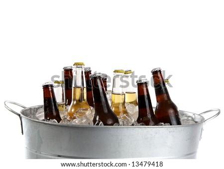 twelve cold beers in a metal bucket