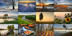 Twelve Colored Images of landscape For Calendar