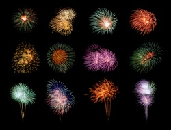 Twelve colorful fireworks on black background
