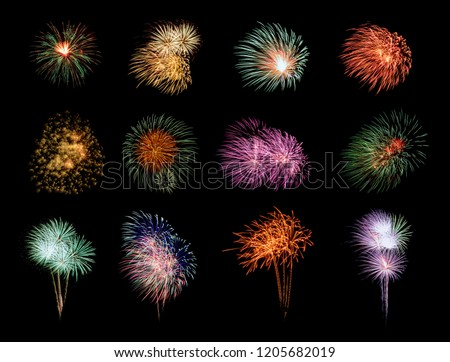 Twelve colorful fireworks on black background #1205682019