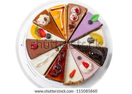 Twelve different pieces of cake. Isolated on white background. Top view close-up