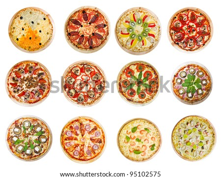 twelve different pizzas put in one set
