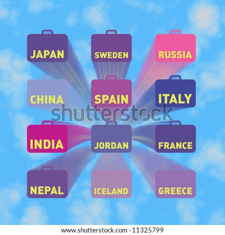 Twelve flying suitcases with country names, blue sky
