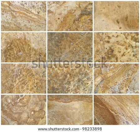 Twelve Natural Limestone Background or textures. The real color. Without saturation of colors.