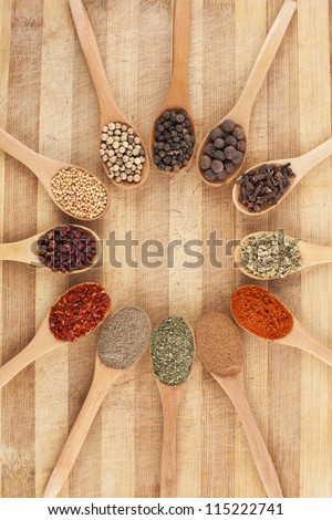 twelve spoons of spices like circle on cutting board