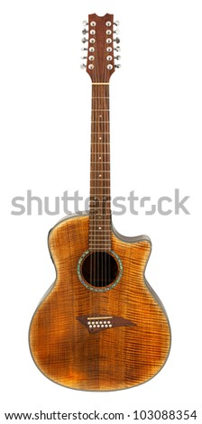 Twelve String Acoustic Guitar isolated on white background