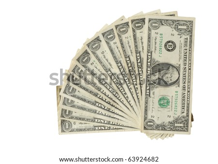 Twelve USA one dollar bank notes isolated on white with clipping path