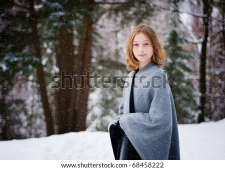 twelve year old girl outdoors in winter