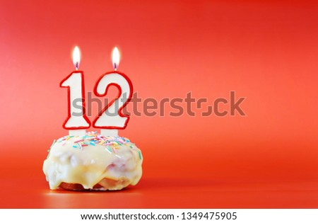 Twelve Years Birthday Cupcake With White Burning Candle In The Form Of Number 12