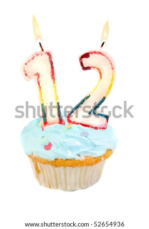 Twelveth Birthday Cupcake With Blue Frosting On A White Background 52654936