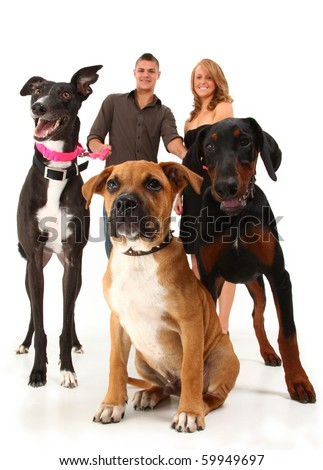 Twenties couple with three dogs, greyhound, boxer, doberman.  Over white background.