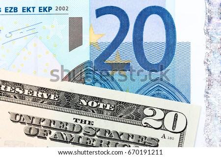 Twenty dollar and twenty euro banknotes. High resolution photo. #670191211