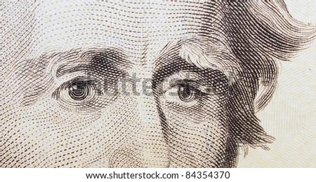 twenty dollar bill, eye Jackson background, textures