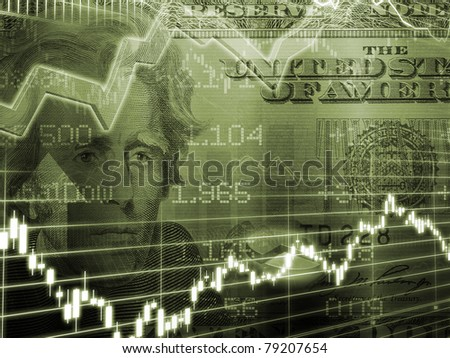 Twenty Dollar Bill with Brown Stock Market Graph