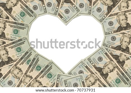 Twenty dollar bills making a heart symbol on a white background, money heart