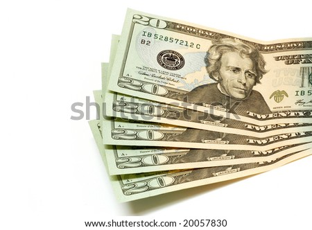Twenty dollar bills on a white background