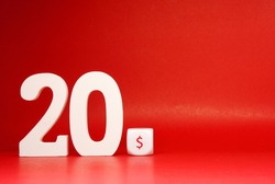 Twenty dollar ( 20$ )  Isolated on Red Background with Copy Space , White object word - Sale , Discount 20$ off Safe Price shopping advertise promotion Concept - Creative mockup