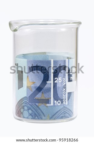 Twenty euro banknote in white beaker Isolated on white background