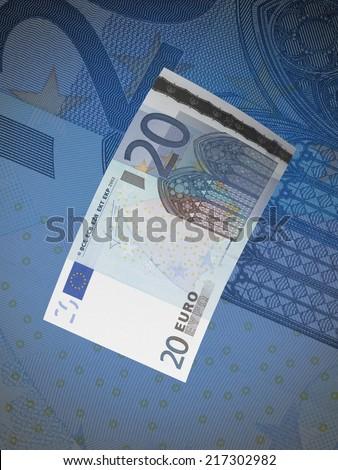 Twenty euro bills collage with blue tone. Vertical format
