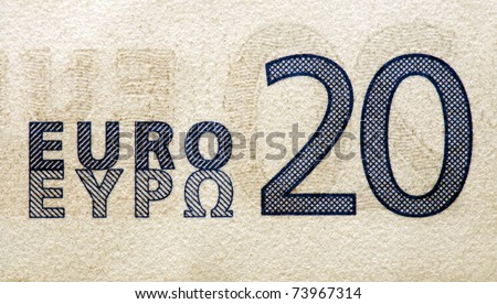 twenty euro detail from a banknote - stock photo