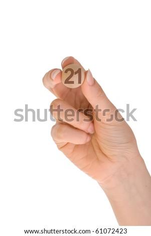 twenty first bingo ball in the hand