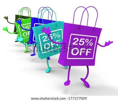 Twenty-five Percent Off On Colored Shopping Bags Showing Bargains