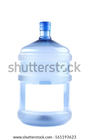 Twenty littles water plastic can. Isolated on a white background.