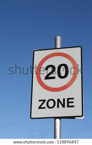 Twenty miles per hour speed limit sign