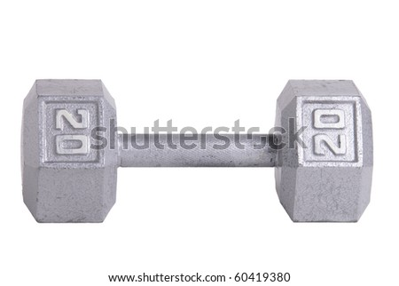Twenty pound metal dumbbell isolated on white