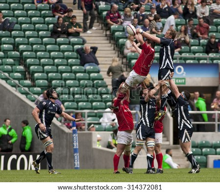 TWICKENHAM, ENGLAND. 01 MAY 2010. A line out  during the annual Babcock challenge rugby union match between The Army and The Navy. played at Twickenham stadium.