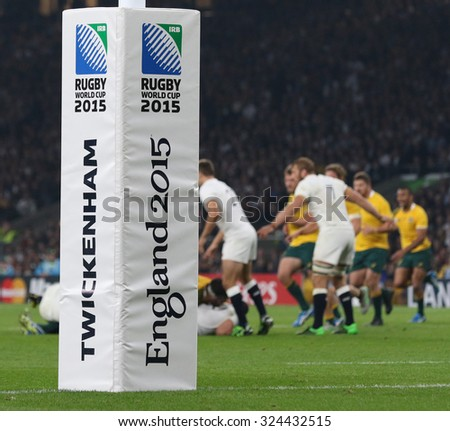 TWICKENHAM, ENGLAND - OCTOBER 03 2015: The 2015 Rugby World Cup Pool A match between England and Australia at Twickenham Stadium on October 03, 2015 in London, United Kingdom.