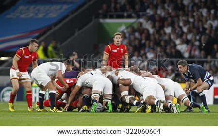 TWICKENHAM, ENGLAND - SEPTEMBER 26 2015:  The 2015 Rugby World Cup Pool A match between England and Wales at Twickenham Stadium, on September 26, 2015 in London, United Kingdom.
