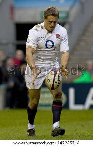 TWICKENHAM LONDON, 27/02/2010. England player Jonny Wilkinson  during the RBS 6 Nations rugby union match between England and Ireland at the Twickenham Stadium.