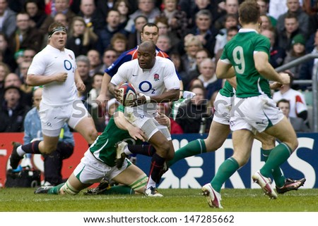 TWICKENHAM LONDON, 27/02/2010. England player Ugo Monye during the RBS 6 Nations rugby union match between England and Ireland at the Twickenham Stadium.