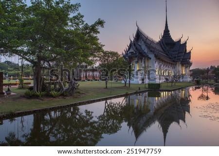 Twilight ancient city in Samut Prakan province, Thailand