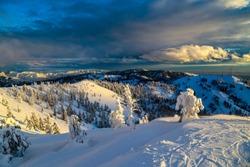 Twilight at Bogus Basin ski area in Boise, Idaho