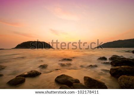 Twilight at kata beach, Phuket, Thailand