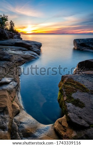 Twilight at Pictured Rocks National Lakeshore, Lake Superior in Upper Michigan Foto d'archivio ©