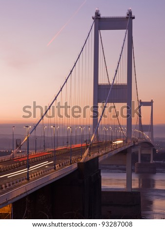 Twilight at the original motorway suspension bridge over the Severn river linking England and Wales
