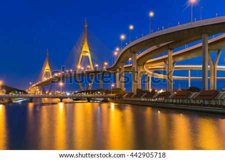 Twilight background, Suspension bridge connect to highway interchange river front #442905718