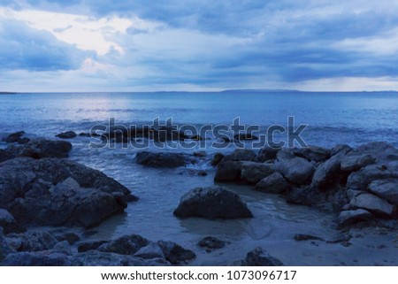 Twilight before the storm at the sea, blue wallpaper. Nature at its best