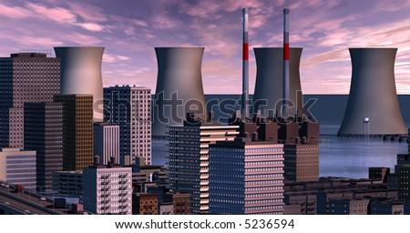 Twilight clouds over the flooded city's cooling towers