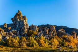 Twilight evening. Mono Lake is a natural wonder of the world. The columns of