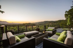 Twilight from the Deck of a Wine Country Home, Relaxing Couches Face Sunset over the Mountain