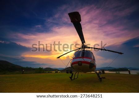 Twilight helicopter on the helipad.