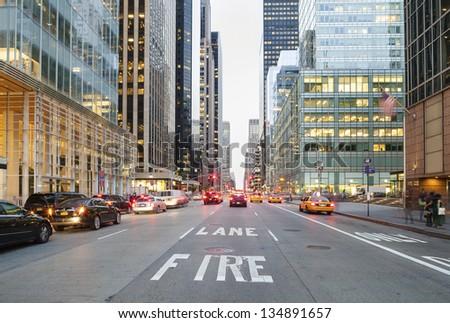 stock photo twilight in downtown of new york city usa 134891657 - Каталог — Фотообои «Улицы, переулки»